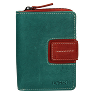 Dámska peňaženka LAGEN kožená 3307 GREEN/TOMATO