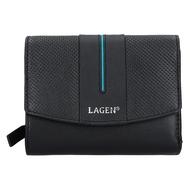 Dámska peňaženka LAGEN kožená 5436 BLK/PETROL