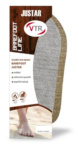 VTR Vložky do topánok Barefoot Justar sivý